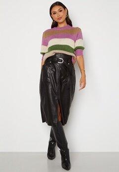 ONLY Alba Faux Leather Long Skirt Black Bubbleroom.dk
