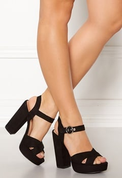ONLY Allie Wide Heeled Sandal Black Bubbleroom.dk