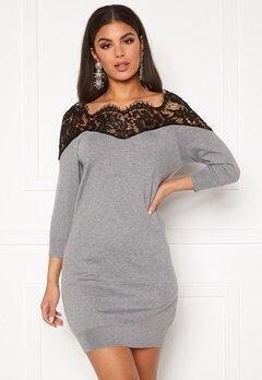 ONLY Ally 3/4 Spring Dress Medium Grey Melange Bubbleroom.dk