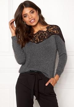 ONLY Ally L/S Pullover Knit Dark Grey Melange Bubbleroom.dk