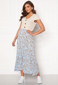 ONLY Alma Poly Plisse Skirt AOP Cashmere Blue Bubbleroom.dk