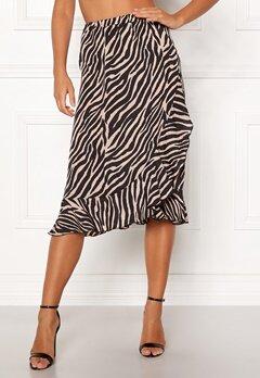 ONLY Ana Wrap Frill Skirt Black/Zebra Bubbleroom.dk