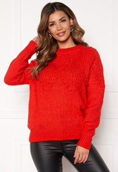 ONLY Anelia L/S Pullover Fiery Red Bubbleroom.dk