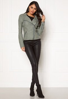 ONLY Ava Faux Leather Biker Chinois Green Bubbleroom.dk