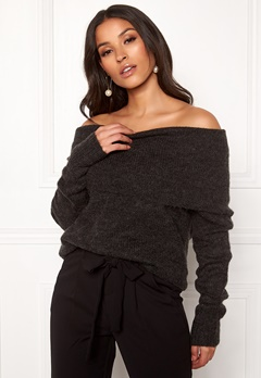 ONLY Bergen L/S Off Shoulder Dark Grey Melange Bubbleroom.dk