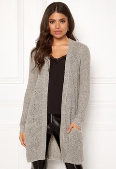 ONLY Bernice L/S Cardigan Knit Light Grey Melange Bubbleroom.dk