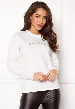 Jacqueline de Yong Brianna L/S Crop Sweat Cloud Dancer Bubbleroom.dk