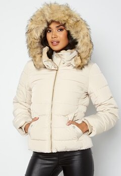 ONLY Camilla Quilted Jacket Oatmeal bubbleroom.dk
