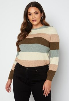 Only Carmakoma Karia L/S Stripe Pullover Knit Hedge Green Stripes bubbleroom.dk
