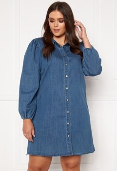 Only Carmakoma Ontan Life LS Knee Dress Dark Blue Denim Bubbleroom.dk