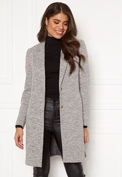 ONLY Carrie Mel Coat Light Grey Melange Bubbleroom.dk