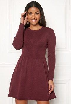 ONLY Chanette l/s Dress Tawny Port Bubbleroom.dk
