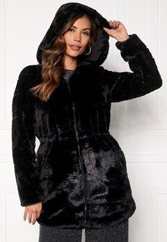 ONLY Chris Fur Hooded Coat Black Bubbleroom.dk