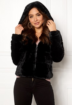 ONLY Chris Fur Hooded Jacket Black Bubbleroom.dk