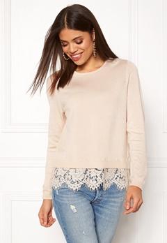 ONLY Cilla L/S Lace Pullover Pumice Stone Bubbleroom.dk