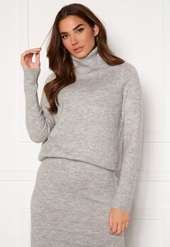 ONLY Cille L/S Rollneck Pullover Ligth Grey Melange Bubbleroom.dk