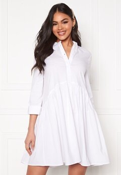 ONLY Ditte Fold Up 3/4 Shirt Dress White Bubbleroom.dk