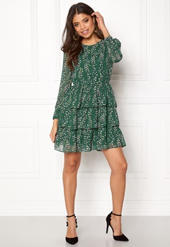 ONLY Ditte L/S Layred Dress Posy Green Bubbleroom.dk