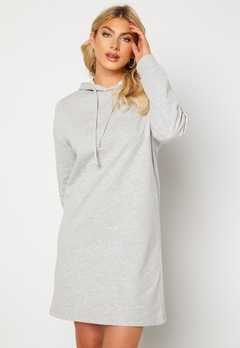 ONLY Dreamer Life Sweat Hood Dress Ligth Grey Melange Bubbleroom.dk