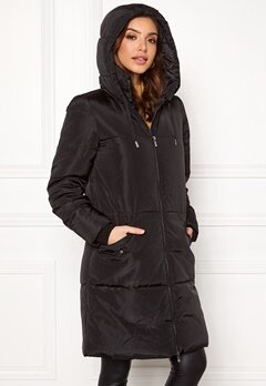 ONLY Elin Long Nylon Coat Black Bubbleroom.dk