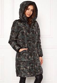 ONLY Elin Long Nylon Coat Moonless Night/Camo Bubbleroom.dk