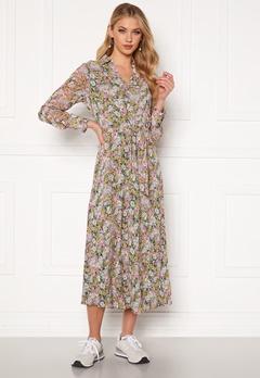 ONLY Ellie L/S Midi Dress Wvn Black, pastel flower Bubbleroom.dk