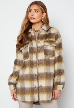 ONLY Epic L/S Check Shacket Oatmeal Checks Toast bubbleroom.dk