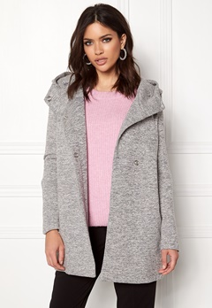 ONLY Fairy Mel Hooded Long Coat Light Grey Melange Bubbleroom.dk
