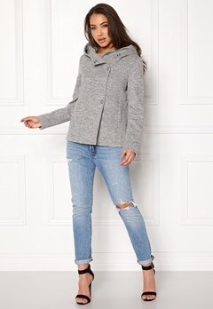 ONLY Fairy Mel Hooded Short Jacket Light Grey Melange Bubbleroom.dk