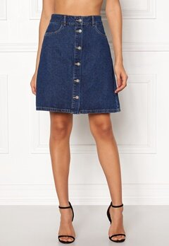 ONLY Farrah Reg Denim Skirt Dark Blue Denim Bubbleroom.dk