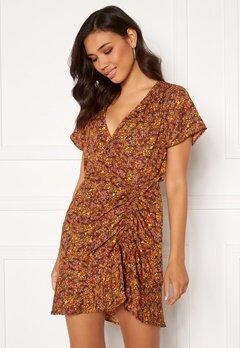 ONLY Fay Life S/S Short Dress Burnt Henna AOP:Daze Bubbleroom.dk
