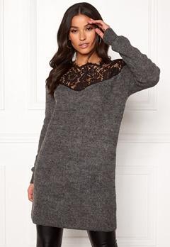ONLY Hanna Ally L/S Lace Dress Dark Grey Melange Bubbleroom.dk