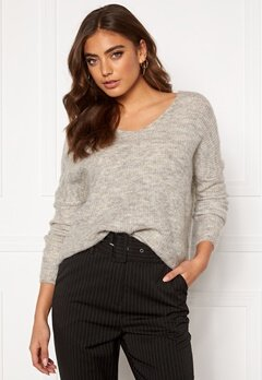 ONLY Hanna Maye L/S V-Neck Light Grey Melange Bubbleroom.dk