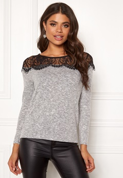 ONLY Idaho Lace l/s Pullover Light Grey Melange Bubbleroom.dk