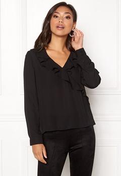 ONLY Intu L/S Frill Wrap Shirt Black Bubbleroom.dk
