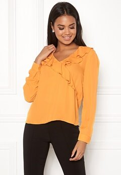 ONLY Intu L/S Frill Wrap Shirt Mineral Yellow Bubbleroom.dk