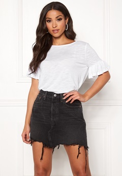 ONLY Isa S/S Frill Top Bright White Bubbleroom.dk