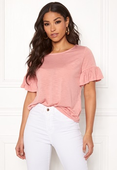 ONLY Isa S/S Frill Top Rose Tan Bubbleroom.dk