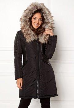 ONLY Linette Fur Hood Coat Black Bubbleroom.dk