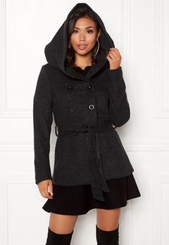 ONLY Lisa Hooded Wool Coat Black Bubbleroom.dk