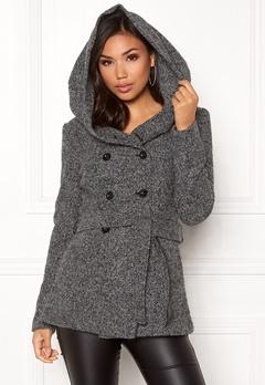 ONLY Lisa Hooded Wool Coat Medium Grey Melange Bubbleroom.dk