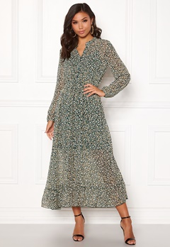 ONLY Lucia Ditzy Long Dress Dark Green Bubbleroom.dk