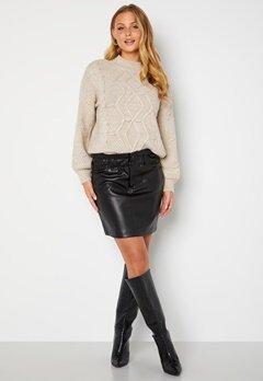 ONLY Maiya-Miri Faux Leahter Skirt Black bubbleroom.dk
