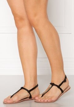 ONLY Margit PU Glitter Split Toe Sandal Black Bubbleroom.dk