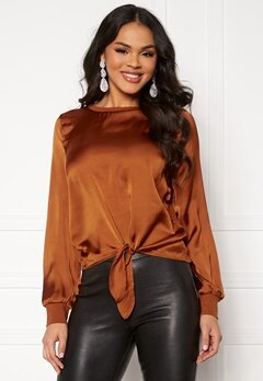 ONLY Mia L/S Knot Top Ginger Bread Bubbleroom.dk