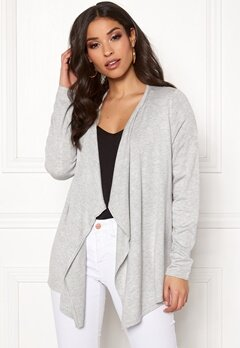 ONLY Mila L/S Draped Cardigan Light Grey Melange Bubbleroom.dk