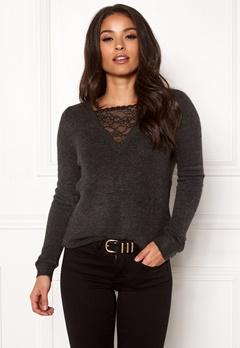ONLY Miramar L/S Lace Pullover Dark Grey Melange Bubbleroom.dk
