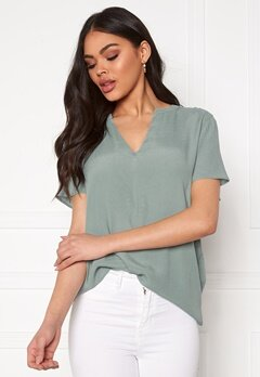 ONLY Molly SS V-Neck Chinois Green Bubbleroom.dk