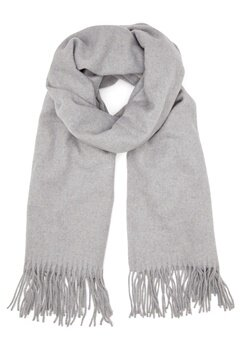 ONLY Nala Weaved Wool Scarf Light Grey Melange Bubbleroom.dk