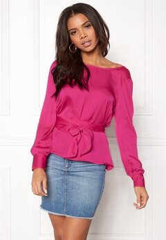 ONLY Natalia L/S Wrap Top Pink Peacock Bubbleroom.dk